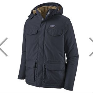 Patagonia mens isthmus- fur lined coat navy- mens